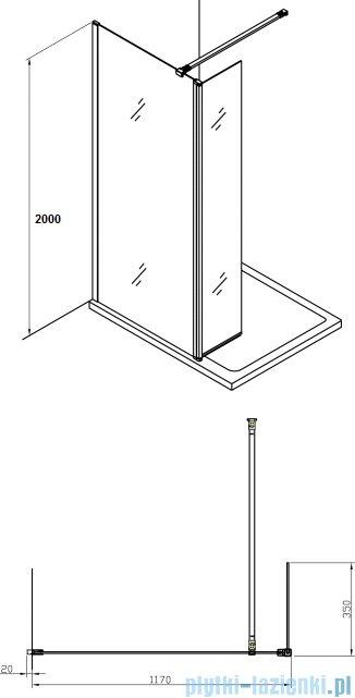 Alterna kabina typu walk-in 120x200 cm przejrzysta ALTN-195222