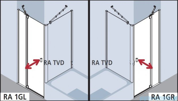 Kermi Raya Drzwi wahadłowe, 1-skrzydłowe, z polem stałym, lewe, szkło przezroczyste, profile srebrne 120x200 RA1LR12020VAK