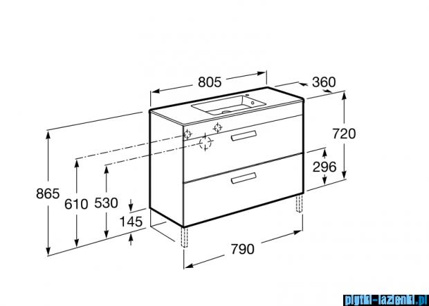 Roca Debba Unik Compacto 80 zestaw łazienkowy z 2 szufladami szary antracyt A855907153