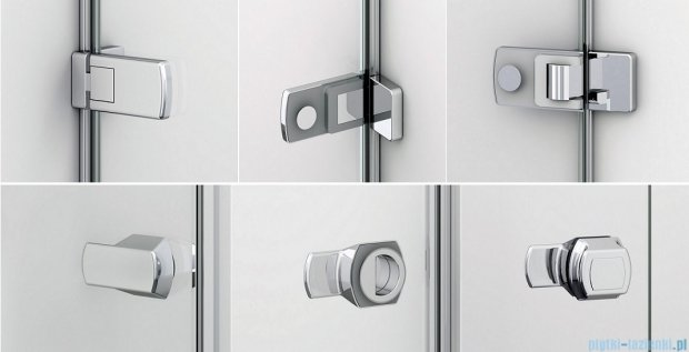 Sanswiss Melia ME31 Drzwi ze ścianką w linii prawe z uchwytami i profilem 140-200cm przejrzyste ME31ADSM21007
