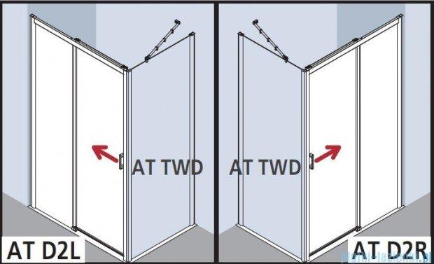 Kermi Atea Drzwi przesuwne bez progu, prawe, szkło przezroczyste, profile białe 130x200 ATD2R130202AK