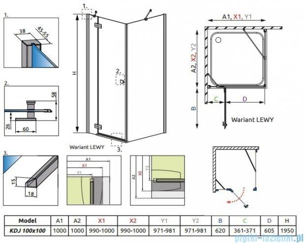 Radaway Kabina prysznicowa Almatea Kdj 100x100 lewa szkło przejrzyste + brodzik Delos C + syfon 32150-01-01NL