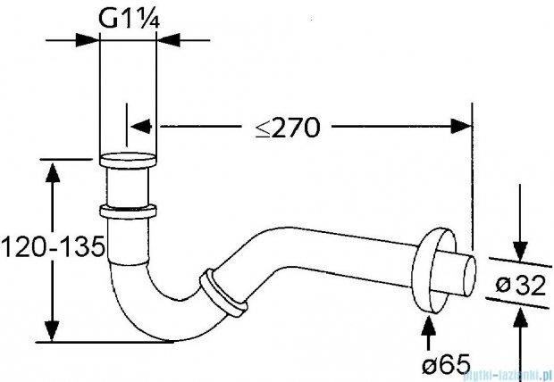 Kludi Syfon rurowy do bidetu G 1 1/4 chrom 103110500