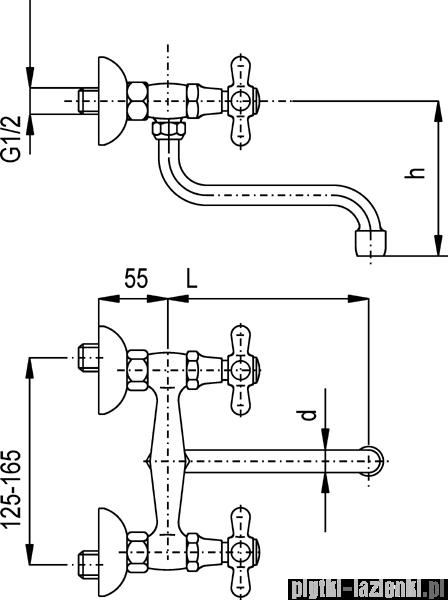 KFA Retro bateria zlewozmywakowa, kolor chrom-złoto 370-440-03