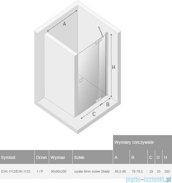 New Trendy kabina Kamea 90x80x200cm prawa przejrzyste EXK-1112/EXK-1133