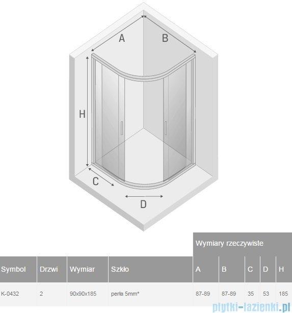 New Trendy Varia kabina półokrągła 90x90x185cm perła K-0432