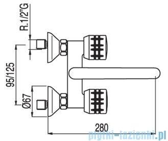 Tres Ese-23 Bateria zlewozmywakowa ścienna kolor chrom 1.23.217