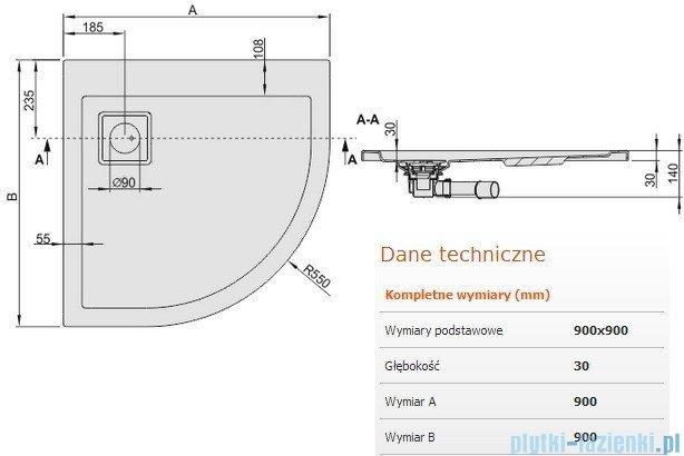 Sanplast Space Line brodzik półokrągły 90x90x3cm+syfon 615-110-0330-01-000