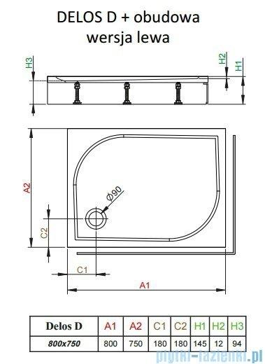 Radaway Brodzik prostokątny Delos D 80x75x14 cm z obudową lewy 4D87514-03L