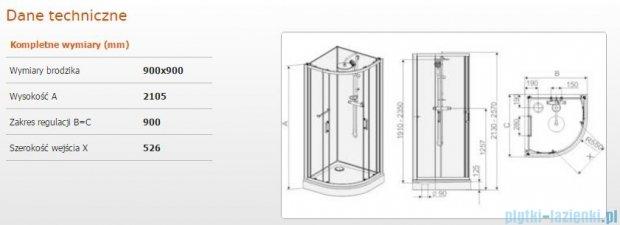 Sanplast kabina czterościenna kompletna kpl-KCKP4/CLII-90 90x90x210 cm przejrzysta 602-011-0330-01-4B1