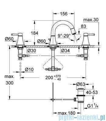 Grohe Grandera 3-otworowa bateria umywalkowa DN15 chrom 20417000