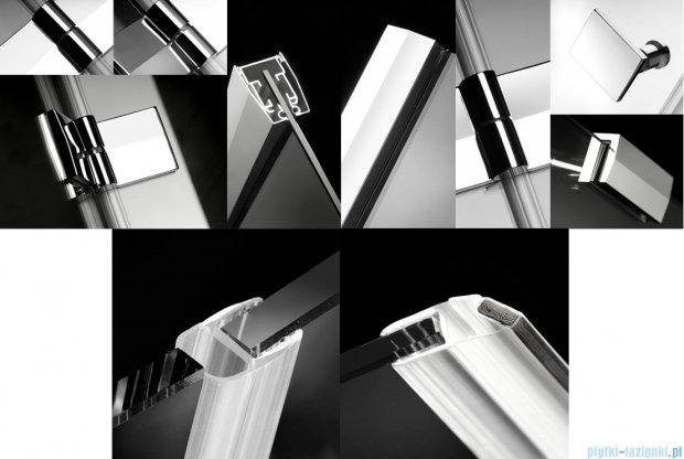 Radaway Almatea DWJ Drzwi wnękowe 80 Lewe szkło przejrzyste + Brodzik Delos C 80 + syfon 30802-01-01N