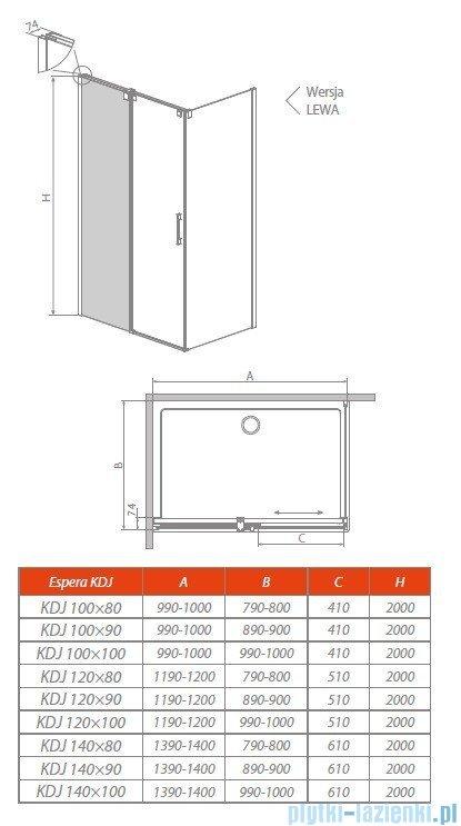 Radaway Espera KDJ Mirror kabina prysznicowa 140x80 lewa szkło przejrzyste 380134-71L/380148-01R