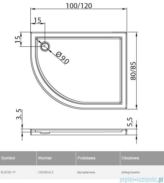 New Trendy Maxima Ultra brodzik asymetryczny posadzkowy na podstawie styropianowej prawy 120x85 B-0239/P