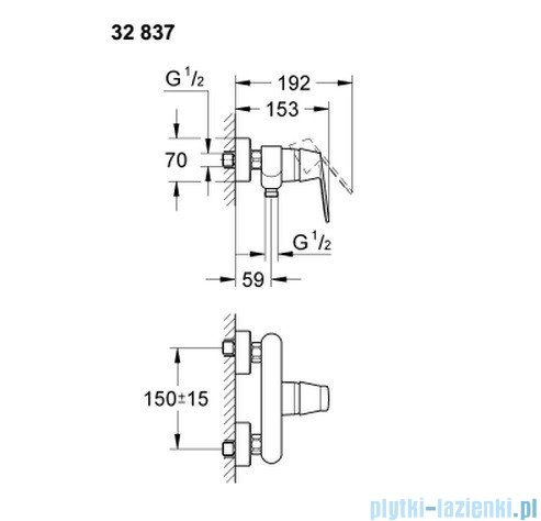 Grohe Eurosmart Cosmopolitan jednouchwytowa bateria prysznicowa 32837000