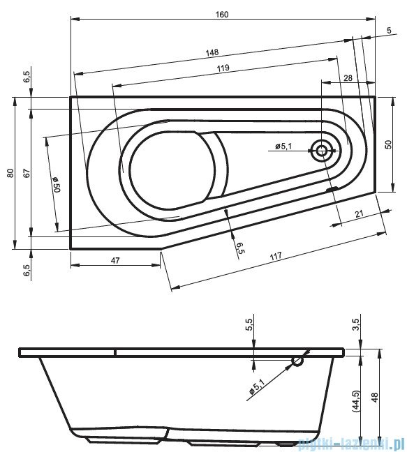 Riho Delta wanna asymetryczna prawa 160x80 z hydromasażem Hit Aero11 BB82H1