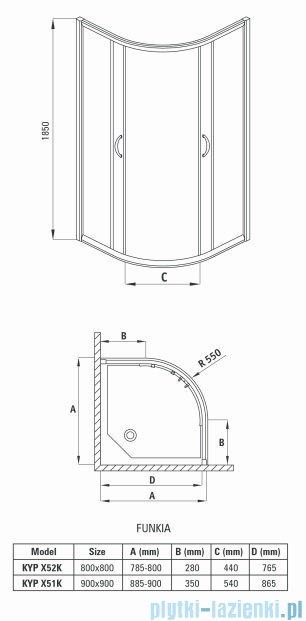 Deante Funkia kabina półokrągła 90x90x185 cm szkło szronione KYP 651K