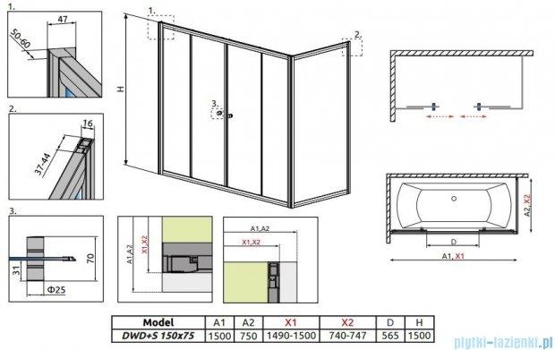 Radaway Vesta DWD+S Parawan nawannowy 150x75cm szkło fabric 203150-06/204075-06