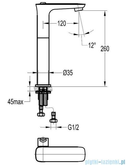 Omnires Hudson bateria umywalkowa sztorcowa wysoka chrom HS4112