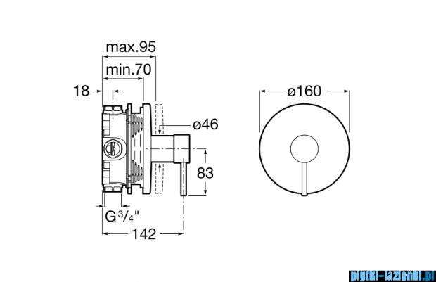 Roca Lanta element zewnętrzny baterii wannowej lub natryskowej A5A2B11C00