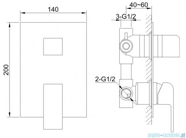 Kohlman Saxo Bateria podtynkowa wannowo-natryskowa chrom QW211S