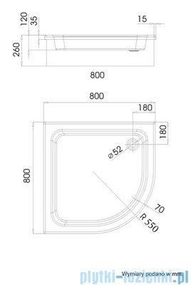 Schedpol Grawello Brodzik półokrągły R55 80x80x26cm 3.015