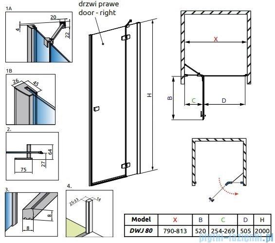 Radaway Fuenta New Dwj drzwi wnękowe 80cm prawe szkło przejrzyste 384012-01-01R