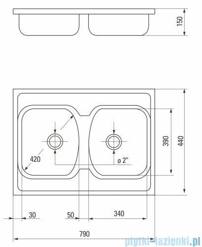 Deante Techno zlewozmywak 2-komorowy bez ociekacza 79x44 cm satyna ZMU 0200
