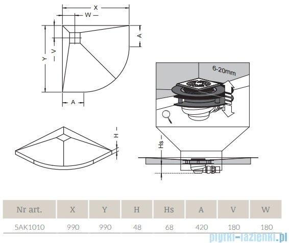 Radaway półokrągły brodzik podpłytkowy z kratką odpływową 99x99cm 5AK1010,5K01,5SK1