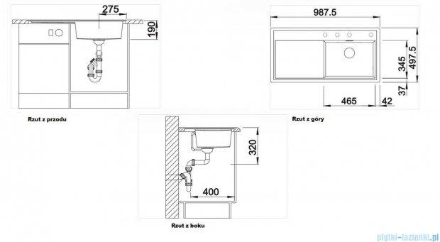 Blanco Zenar XL 6 S-F  Zlewozmywak Silgranit PuraDur komora prawa kolor: antracyt z kor. aut. i szklaną deską do krojenia 519307