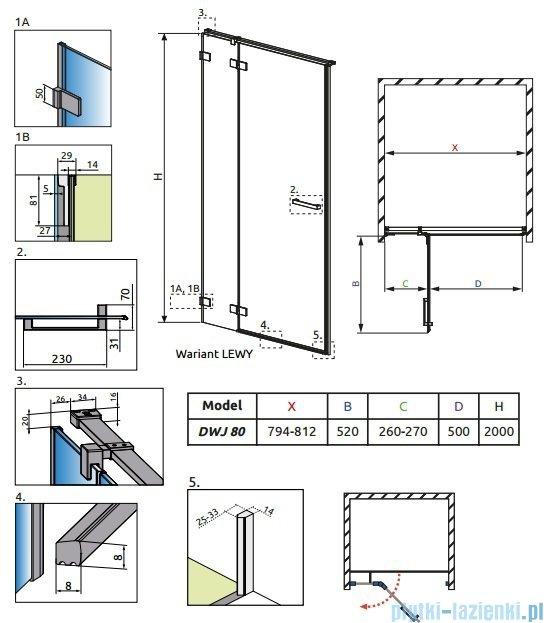 Radaway Euphoria DWJ Drzwi wnękowe 80 lewe szkło przejrzyste + brodzik Delos C + syfon 383012-01L/SDC0808-01