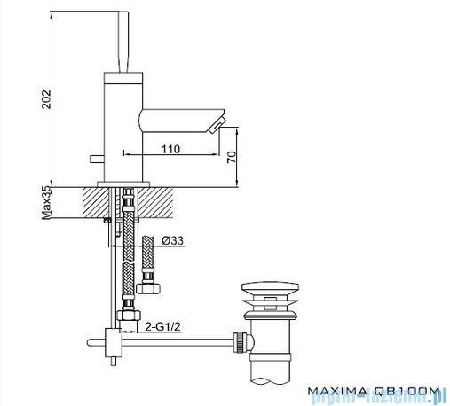 Kohlman Maxima Bateria umywalkowa QB100M