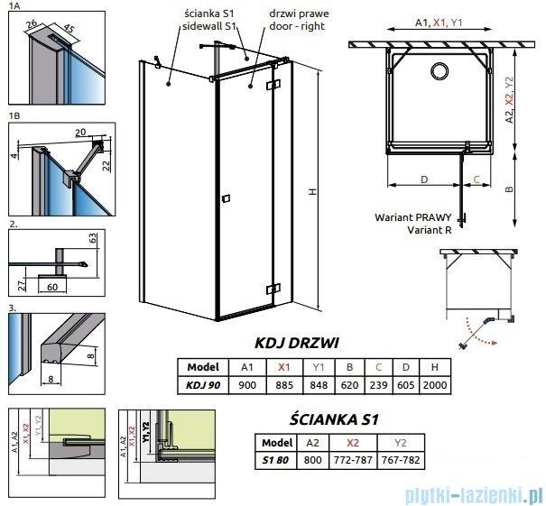 Radaway Essenza New Kdj+S kabina 80x90x80cm prawa szkło przejrzyste 385020-01-01R/384051-01-01/384051-01-01