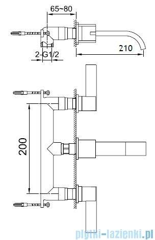 Kohlman Dexame 3-otworowa podtynkowa bateria umywalkowa QW193D