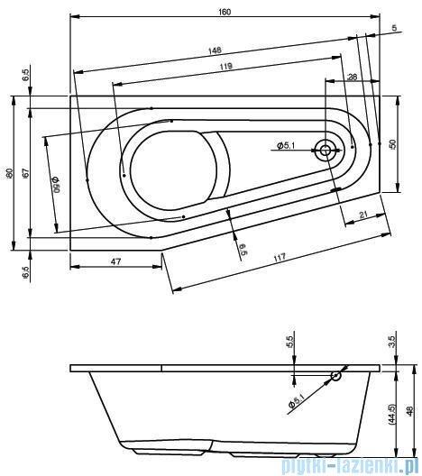 Riho Delta wanna asymetryczna 160x80cm prawa nóżki+syfon BB82/01U/AMC55