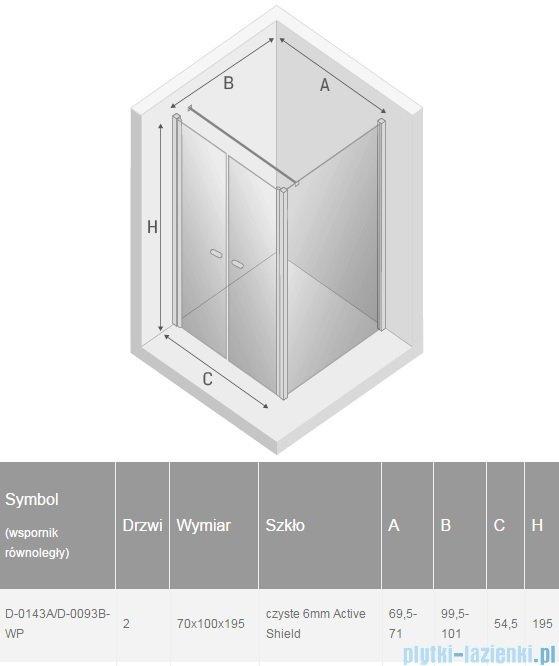 New Trendy New Soleo 70x100x195 cm kabina wspornik równoległy przejrzyste D-0143A/D-0093B-WP