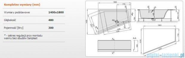 Sanplast Space Line Wanna trapezowa lewa+obudowa+stelaż+adapter z pokrywką WTL+kpl/SPACE 180x140+SP, 610-100-1250-01-000