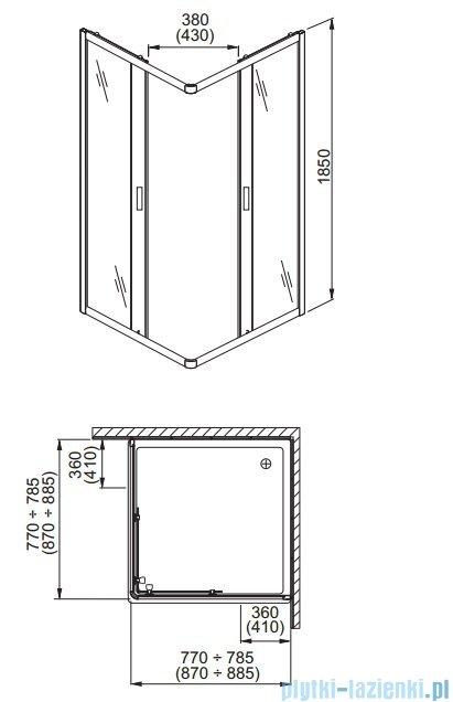 Aquaform Lazuro kabina prysznicowa kwadratowa 80cm szkło przejrzyste 06568
