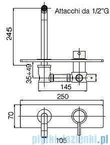 Paffoni Bateria umywalkowa podtynkowa ścienna, L=245 mm Stick chrom SK103CR