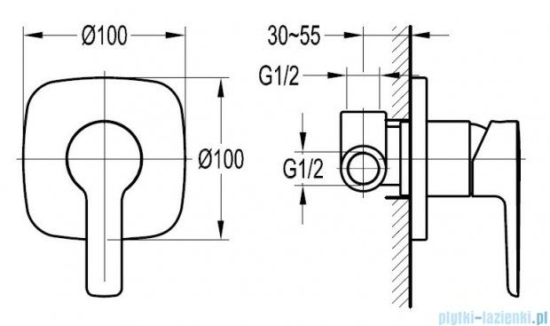 Omnires Hudson bateria natryskowa podtynkowa chrom HS4145