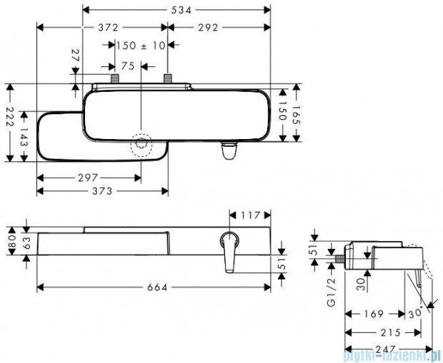 Hansgroge Axor Bouroullec Jednouchwytowa bateria umywalkowa ścienna DN15 19132400