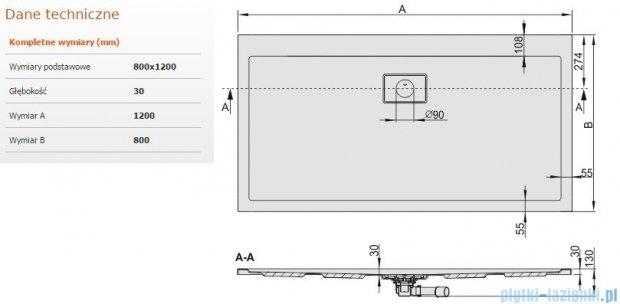 Sanplast Space Line brodzik prostokątny 120x80x3cm+syfon 615-110-0240-01-000