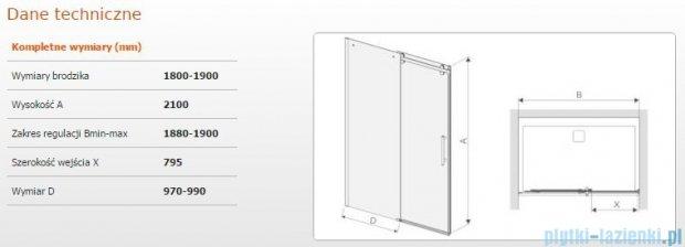 Sanplast drzwi przesuwne D2/ALTIIa-180-190 180-190x210 cm przejrzyste 600-121-1581-42-401