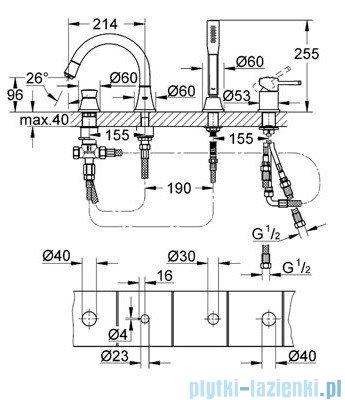 Grohe Grandera 4-otworowa kombinacja wannowa DN 20 chrom 19936000