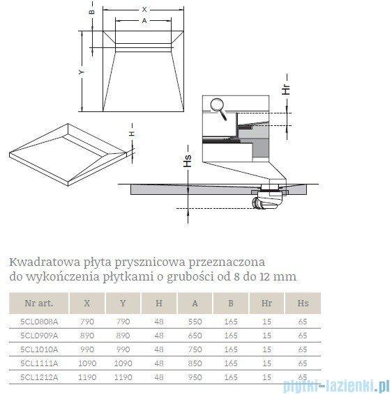 Radaway brodzik podpłytkowy z odpływem liniowym Steel 119x119cm 5CL1212A,5R095S,5SL1