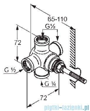 Kludi Adlon Przełącznik dwukierunkowy DN 15 zestaw elementów podtynkowych 2975100