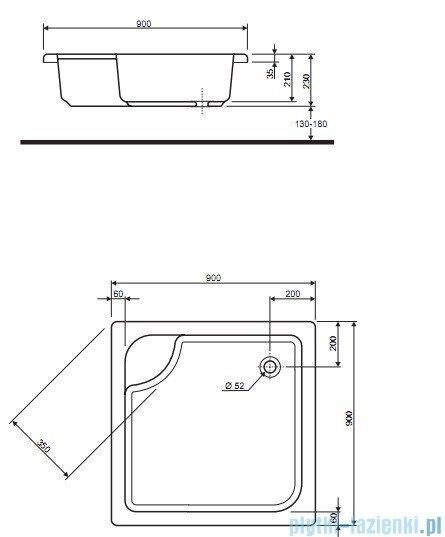 Koło Głęboki Brodzik 90cm kwadratowy XBK0390000