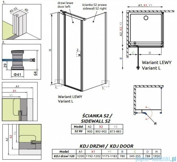 Radaway Eos II KDJ kabina prysznicowa 120x90 lewa szkło przejrzyste 3799424-01L/3799431-01R