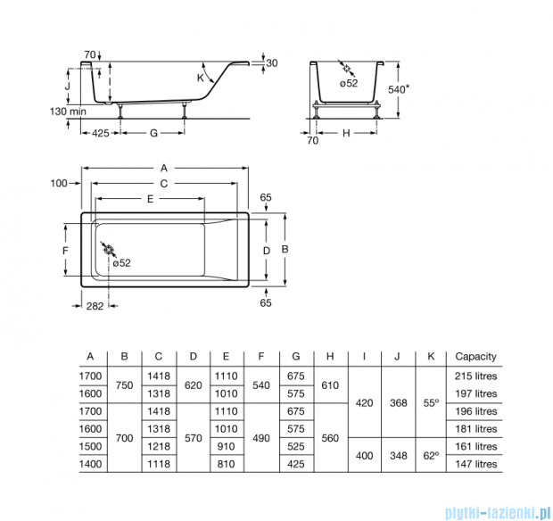 Roca Easy wanna 150x70cm z hydromasażem Effects Titanium A24T315000
