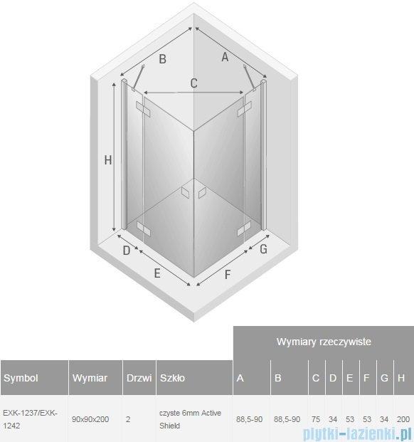 New Trendy Reflexa 90x90x200 cm kabina kwadratowa przejrzyste EXK-1237/EXK-1242